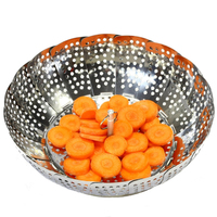 Stainless Steel Foldable Dish Vegetable Food Steamer Basket Strainer Household Kitchen Cooking Tools Gadgets Kitchenware 25