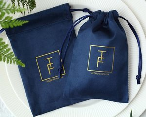 Image 2 - 100 Flannel Jewelry Pouches Custom Personalized Logo Navy Blue Jewelry Packaging Velvet Drawstring Gift Bag for Wedding Party