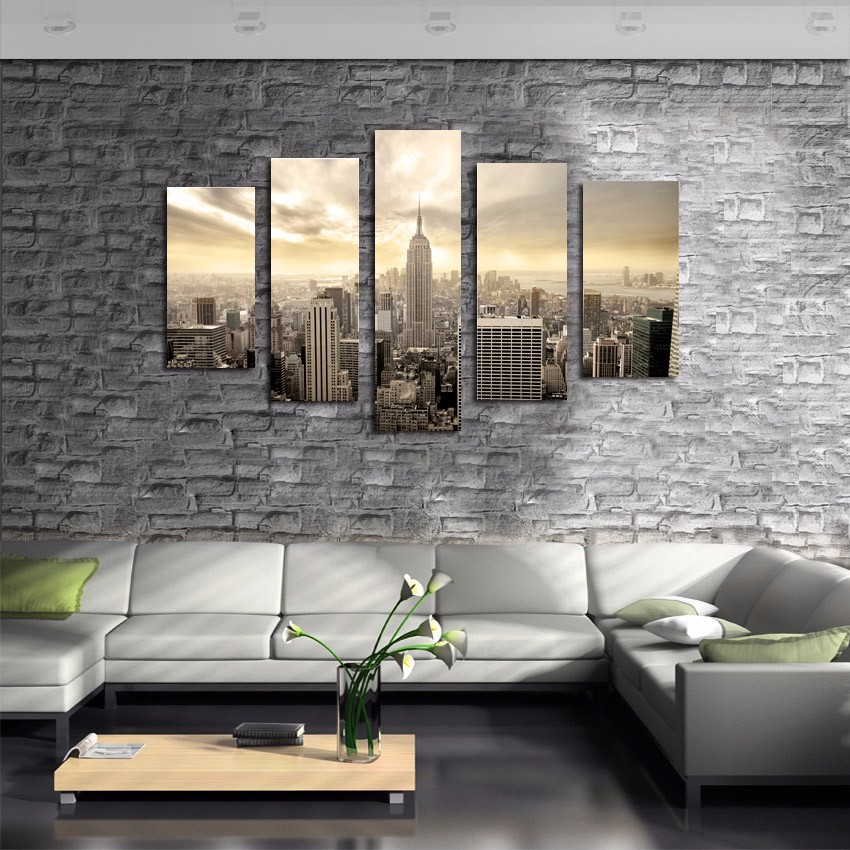 5 piece new york empire state building modern decorative for Modern home decor new york