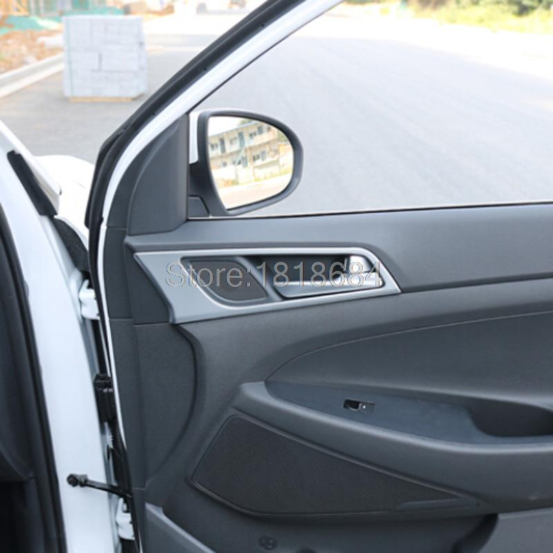 For Hyundai Tucson 2016 Matte ABS Chrome Interior Side Door Handle Armrest Deocrative Cover Frame Trim Auto Accessories 4pcs/set