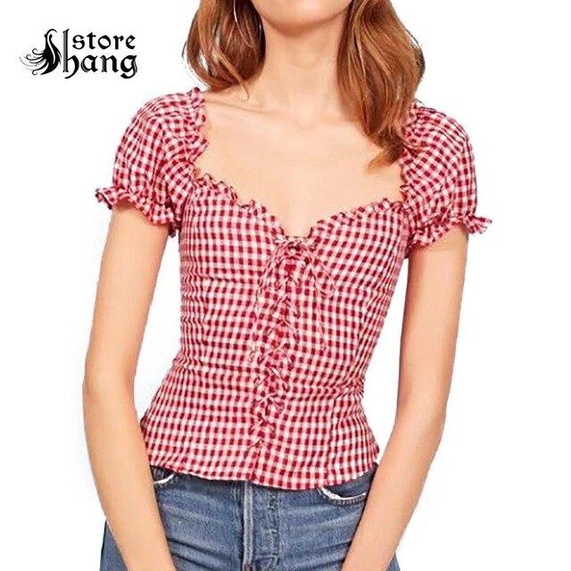 62662efaee5 Женская винтажная клетчатая блузка с оборками и завязками ...