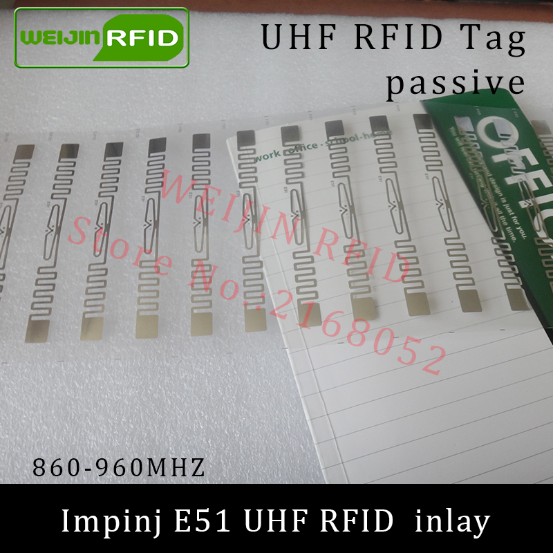 UHF RFID tag Impinj E51 dry inlay 915mhz 900mhz 868mhz 860-960MHZ  EPCC1G2 ISO18000-6C smart card passive RFID tags label 860 960mhz long range passive rfid uhf rfid tag for logistic management