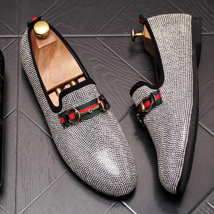 Mens Luxury Designer Fashion Leader Rhinestone Charm Platform Shoes Hip Hop Rock Prom Homecoming Zapatos Hombre Moccasins 41