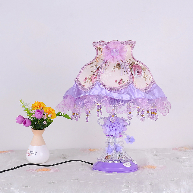 Awesome Rustic Lace Princess Lamp Bedside Table Lamp Child Night Light Fabric  Purple Decoration Lamp