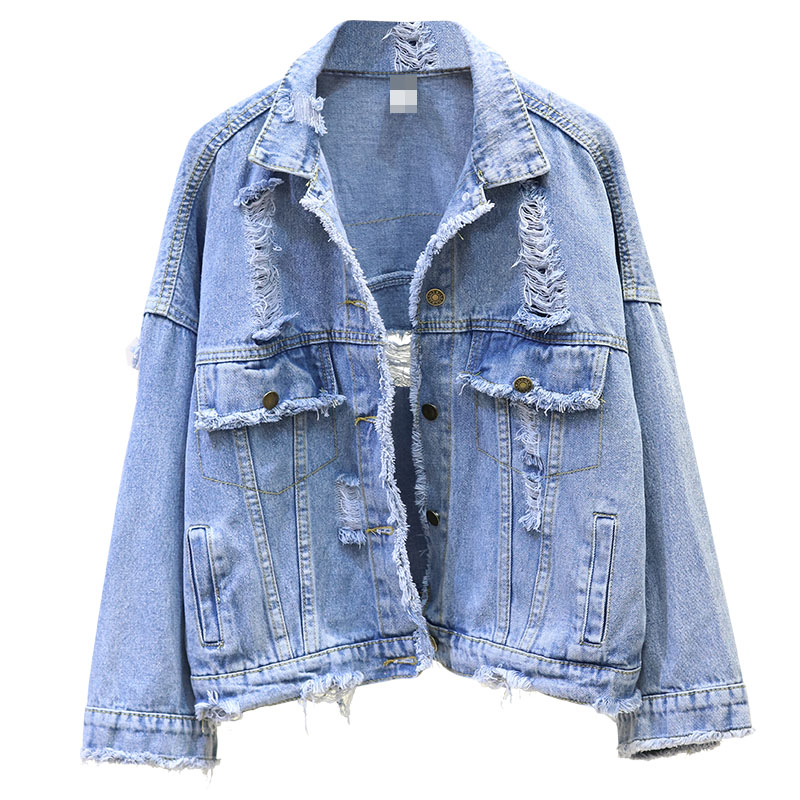Hole denim   jacket   Women 2019 Autumn Outwear Loose Short Jeans   Jacket   for Women Casual Large size   Basic     Jackets   Casaco Fminino