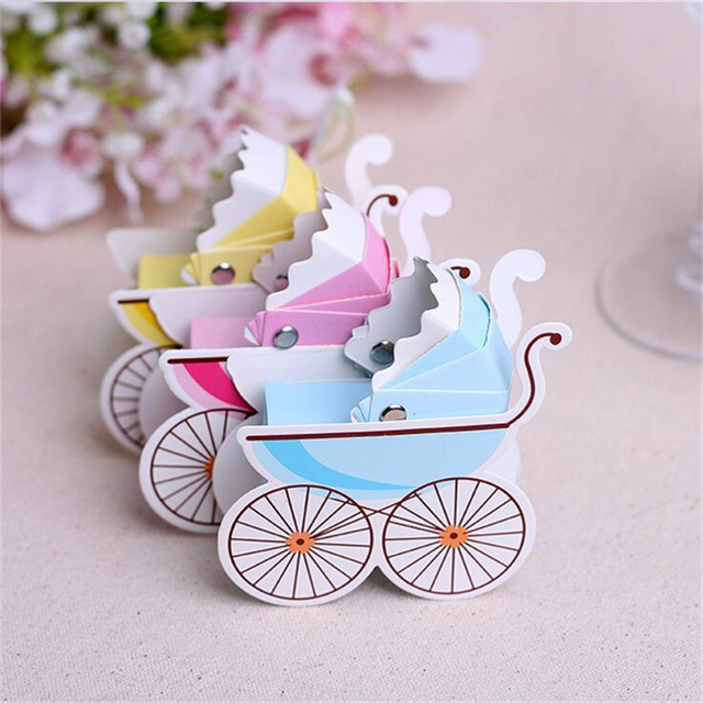 50Pcs/Lot Baby Car Baby Shower Candy Box Candy Bar Birthday Party  Decorations Kids Supplies