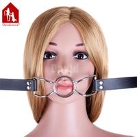 Davidsource Silver Metal Loop Mouth Gag Mouth Open Blow Job Strap Adjustable Lockable Belt Slave Training Sex Bondage Gear