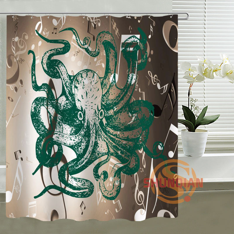 music art Octopus Shower Curtain Personalized Custom Bath curtain Waterproof polyester curtain for family