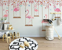 beibehang Custom size Modern minimalist thick silky papel de parede 3d wallpaper flamingo personality childrens room background