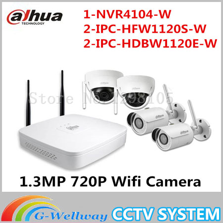 IPC-HFW1120S-W IPC-HDBW1120E-W Dahua 1.3MP 720P Wifi Camera Kit 4channel Wi-Fi Bullet Dome IP Camera NVR4104-W Indoor Outdoor minimalist s p e w