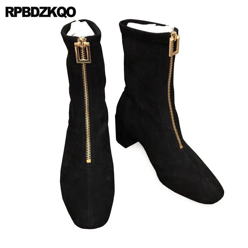 af0627065 Negro Zapatos Nuevo Caer Lateral Calentar Señoras Fornido Diseñador Corto  Chino Femenino Dedo Cierre Otoño Marrón ...