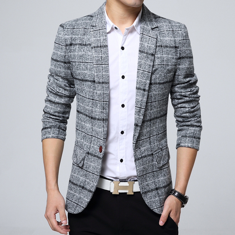 Men's Casual Suit Jacket Korean Version Slim Suit Dropshipping Hot Sale Top Coat Business Long Sleeves Button Cotton Blazers