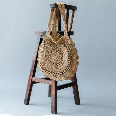 Bohemian Paper rope Straw Bags for Women Big Circle Beach Handbags Summer Vintage Rattan Bag Handmade Kintted Travel Bags 1