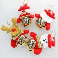 12 pçs/lote Ferro Jingle Bells Decoração Da Árvore de Natal de Santa Do Boneco de neve Veados Pendurado Xmas Party Ornamento decorações de Natal Suprimentos
