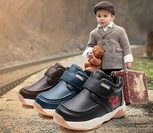 Новинка, 1 пара зимние теплые ботинки натуральная кожа обувь + ВНУТРЕННИЙ 15.5-17.5 см, дети мальчик зима Кроссовки