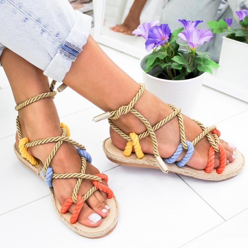 Women Sandals 2019 Lace Up Gladiator Sandals Fashion Hemp Rope Summer Shoes Woman Flat Sandals Non-slip Beach Chaussures Femme