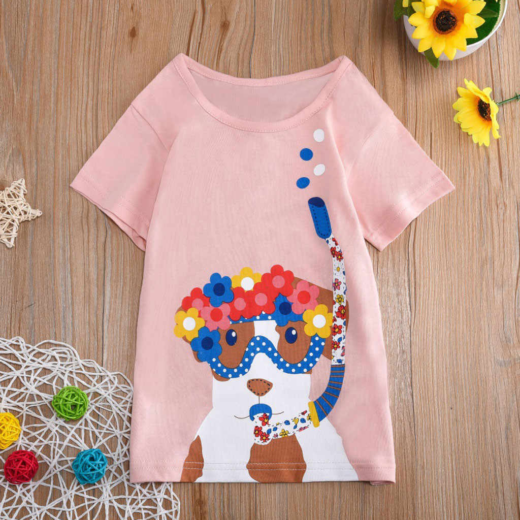 Niño niños bebé Niños Niñas Ropa de manga corta de dibujos animados Tops blusa de camiseta
