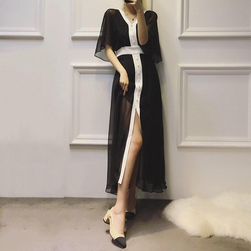 Twotwinstyle Robes Manches Noir D'été Sexy Femmes Mousseline Coréens De Cou Vêtements Mode 2018 Black Soie Robe Flare Midi Femelle Casual V stQrhdCx