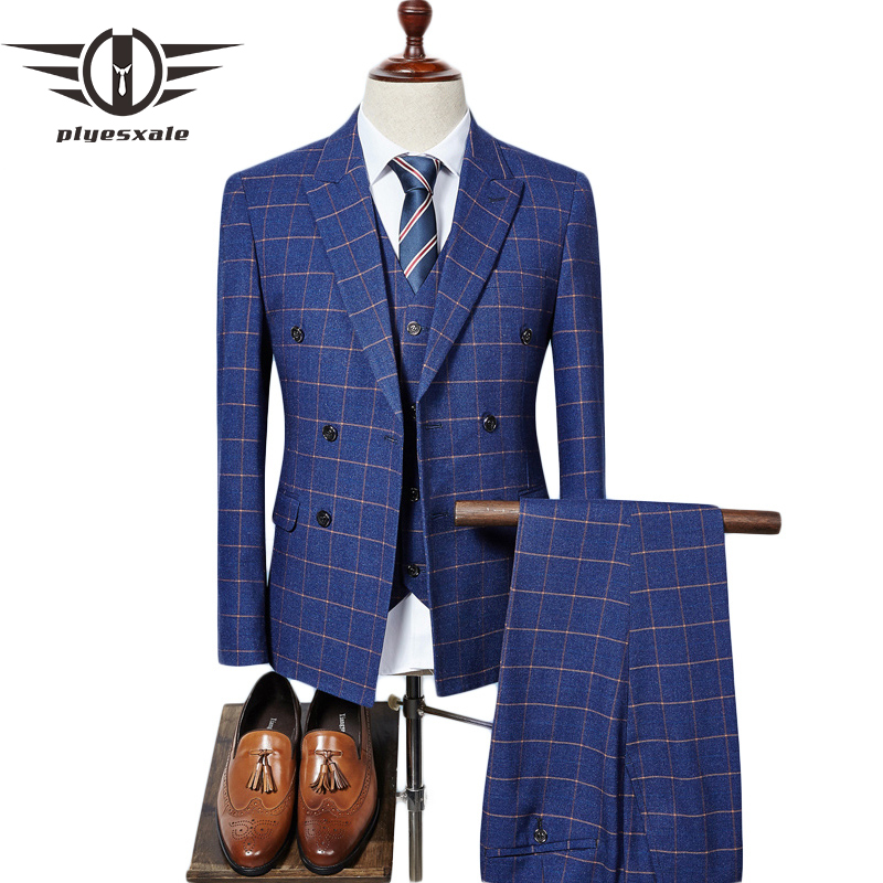 Plyesxale Double Breasted Suit Men 2018 Brand Slim Fit Mens Plaid Suits British Style 3 Piece Groom Wedding Suit Navy Blue Q318