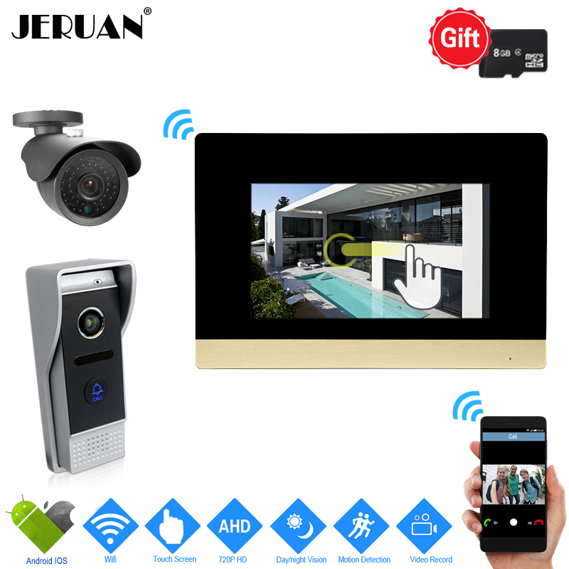 JERUAN IP WIFI 7 inch Touch Screen Video Intercom System kit 720P AHD Record Monitor IR Camera Support Android IOS+CCTV Camera