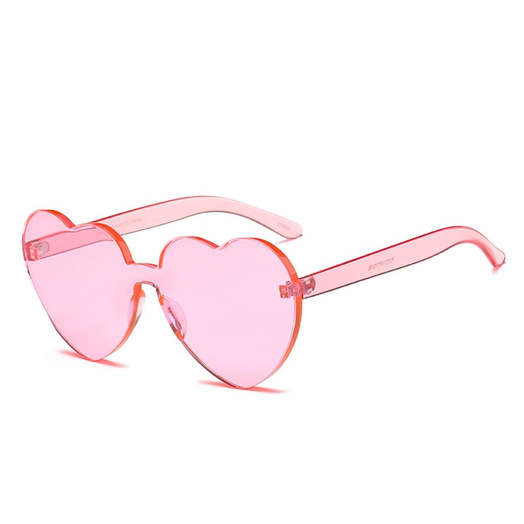 9bc02a864c 2018 Love Heart Sunglasses Women Rimless Frame Clear Lens Sunglass ...