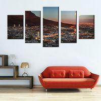 Sanat Galerisi Boyama Ile Cape Town Dağ Ay Güney Afrika Baskı Tuval üzerine Resim için Şehir Fotoğraf Duvar Sanat Odası Dekoru Hediye