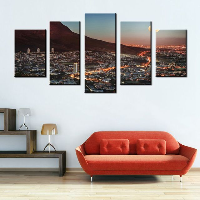 Wall Art Gallery Painting Cape Town Mountain With Moon South Africa ...
