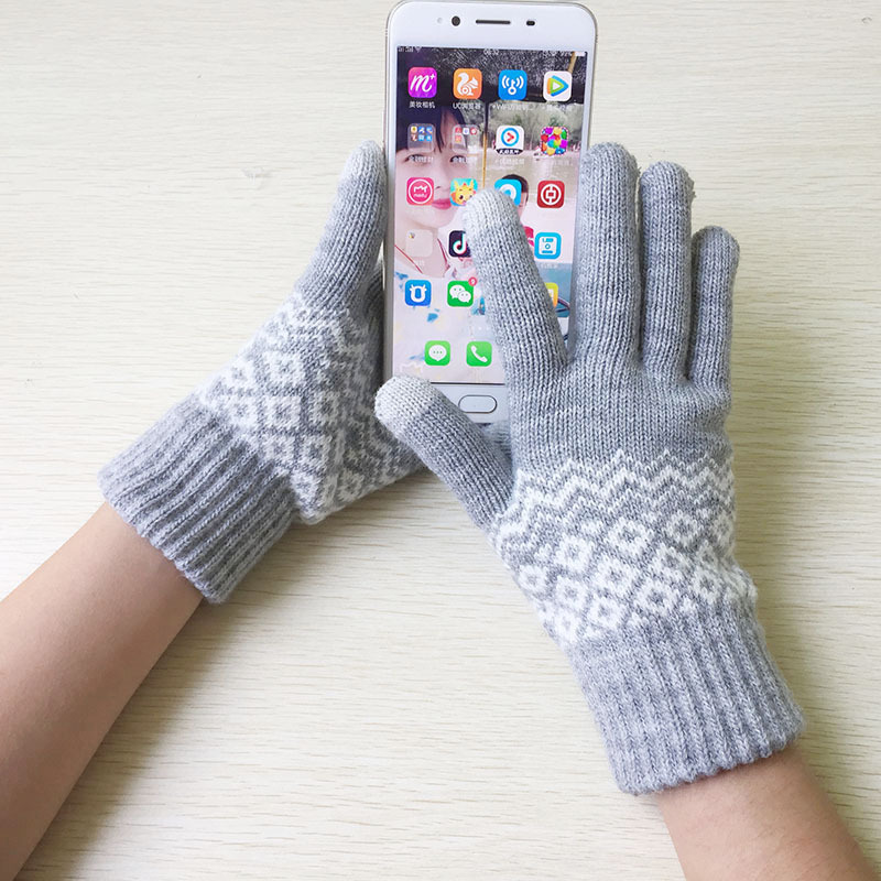 Touch Screen Knitting Gloves Women Men Warm Winter Stretch Knit Mittens Wool Full Finger Guantes Female Crochet Mitt Luvas