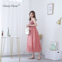 Cherry Chesse 2018 Solid Mesh Women Dress Strap Adjuster Women Robe Party Dresses