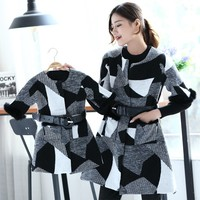 2018 Family Sweaters Mother Daughter Dresses Plaid Autumn Christmas Pajamas for Family Clothing Mom and Daughter Dress Jackets