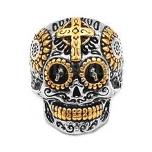 Wholesale Skull Biker Men Ring Stainless Steel Jewelry Fashion Silver Gold Cross Motor Biker Ring Hot Sale SWR0682B
