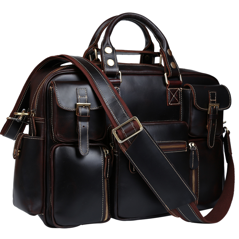 TIDING Genuine Crazy Horse Leather Men Messenger Bag Retro Handbags Briefcase Shoulder Bag 16' Laptop Bag Crossbody Bag 2016 New ipad bag handbags male vertical section business briefcase men bag korean trendy men crazy horse bag messenger bag 2016 new