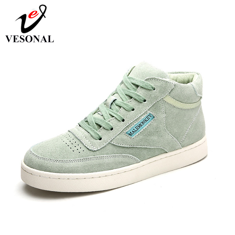 VESONAL 2019 Winter Fashion Casual Shoes Plus Velvet Warming Women Shoes Genuine Leather Woman Sneaker Ladies Female Footwear(China)