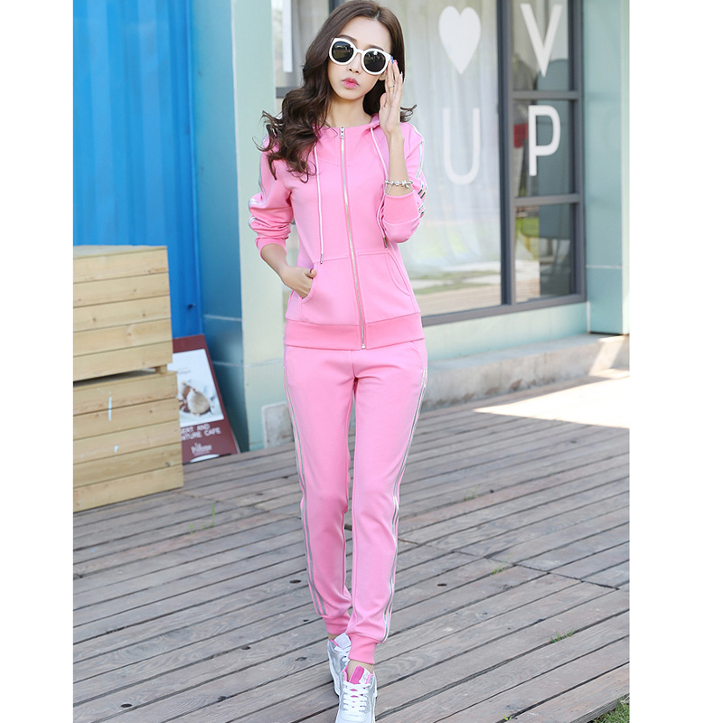 spring and autumn sports suit female Korean yards two-piece womens sportswear jogging su ...
