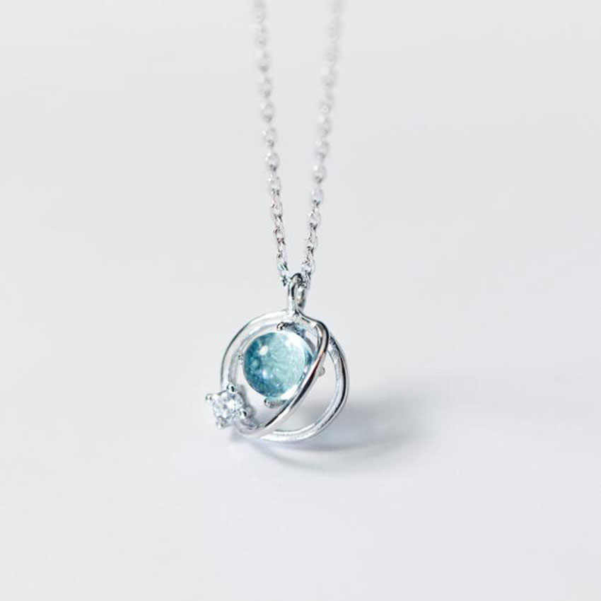 SUN Korean Style Blue Aurora Space Planet Pendant Necklace 925 Sterling  Silver Jewelry Crystal bf3fad372228