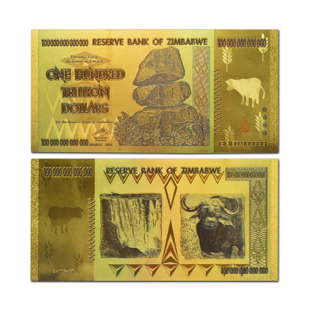 Zimbabwe 100 Trillion Colorful 24k Gold Banknote Bill In Banknotes From Home Garden On Aliexpress Alibaba Group