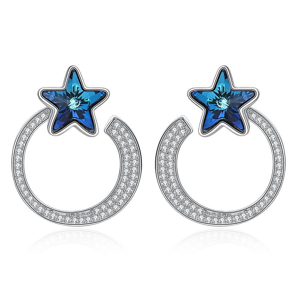 Lady 925 boucles d'oreilles en argent Sterling Fine étoile bleue cristal S925 Zircon lune boucles d'oreilles pour charme femmes filles cadeau boucles d'oreilles
