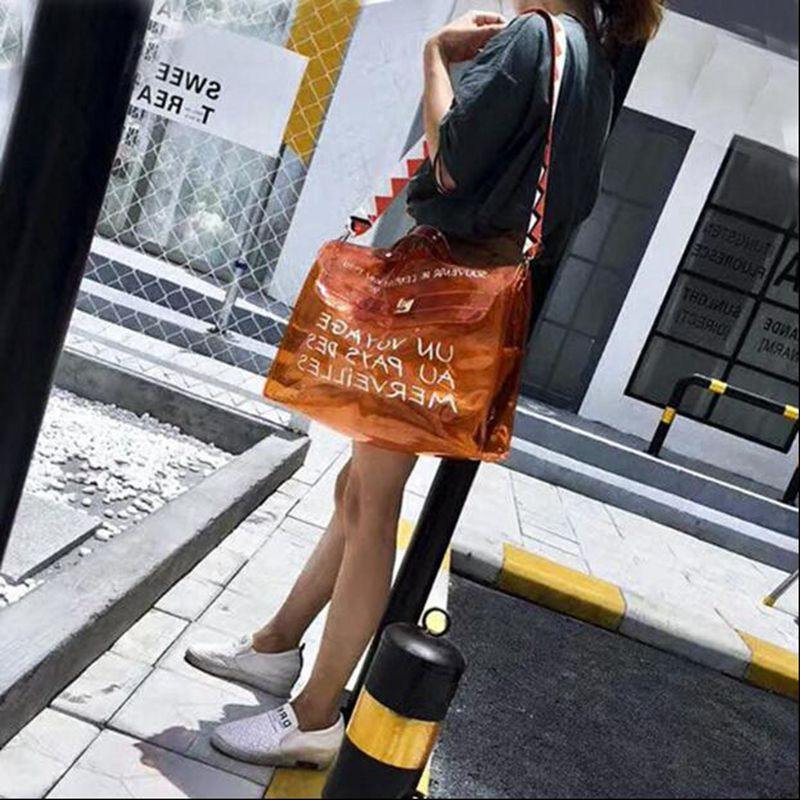 2018 Hot Fashion Ladies Hand Bags Transparent Jelly Bag Letter Printing Big Tote Bag Women Large Capacity Beach Handbag Sac Femm цена