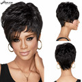 Fashion Cheap Bob Pixie Cut Fluffy Wig Curly Short Wigs for Black Women Heat Resistant Hair Perruque Synthetic Women Black Wig
