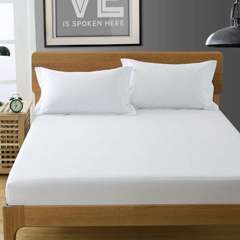 1pc Pure White Cotton Fitted Sheet Fashion Plain Mattress Cover <font><b>Bed</b></font> Sheet <font><b>Bed</b></font> Linen Twin Full Queen King Size Free Shipping