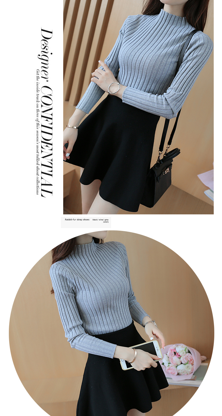 19 Autumn and winter New Korean Half turtleneck Sweater jacket Womens Long Sleeve Set head All-match knitted Sweater woman 16