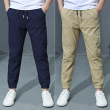 Boys Casual Pants For Summer 2021 New Solid Cotton And Linen Mosquito Fashion Trousers 110-160 High Quality