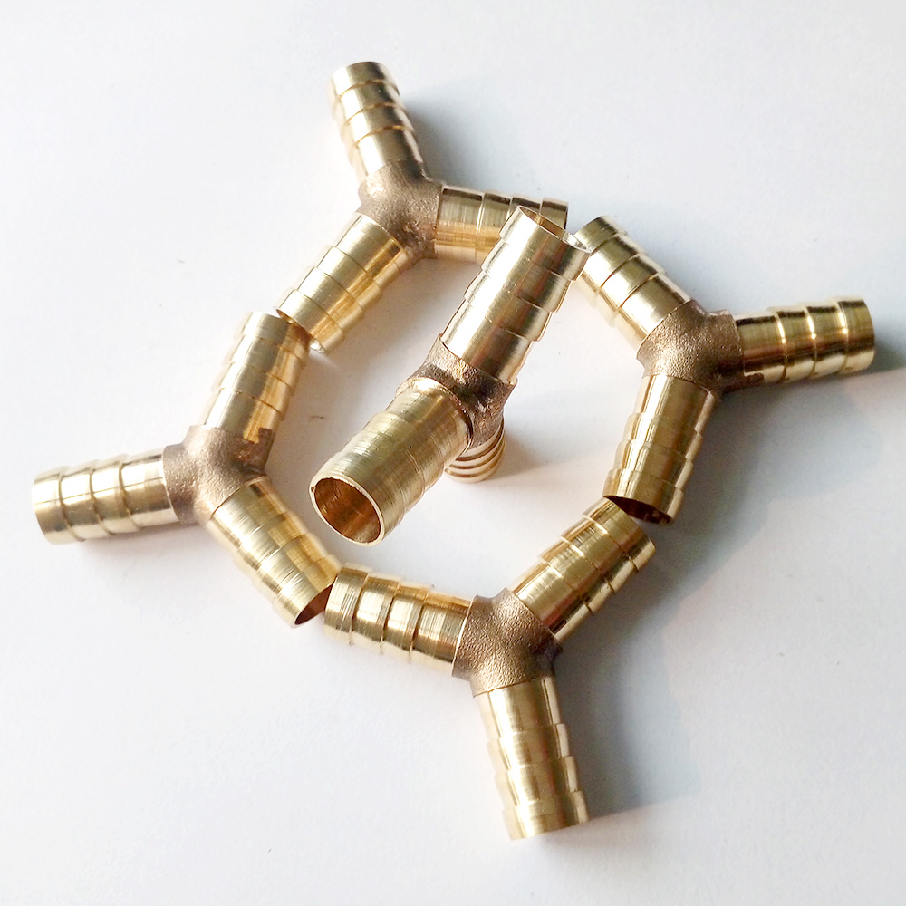 Pack of brass way y hose barb fitting connector