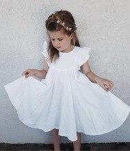 فستان بناتي بسعر التجزئة ، ملابس أطفال صيفية ، أبيض وأخضر ، أكمام مضيئة ، فساتين أطفال جميلة مكشكشة للبنات E19074