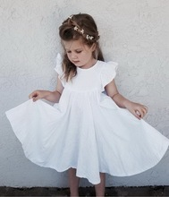 Retail Girls Dress Baby Clothes Summer White Green Flare Sleeve Ruffle Beautiful Kids Dresses for Girls E19074
