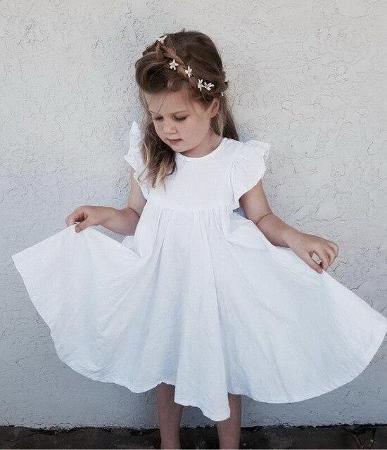 Vestido de verano para niñas, bonito vestido infantil con manga acampanada y volantes, color blanco y verde, E19074