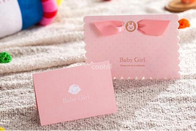 Us 45 99 30 Sets Card Envelop Seal Personalised Baby Shower Invitations Cards New Boy Birthday Party Invites Pink 17 11 8cm On