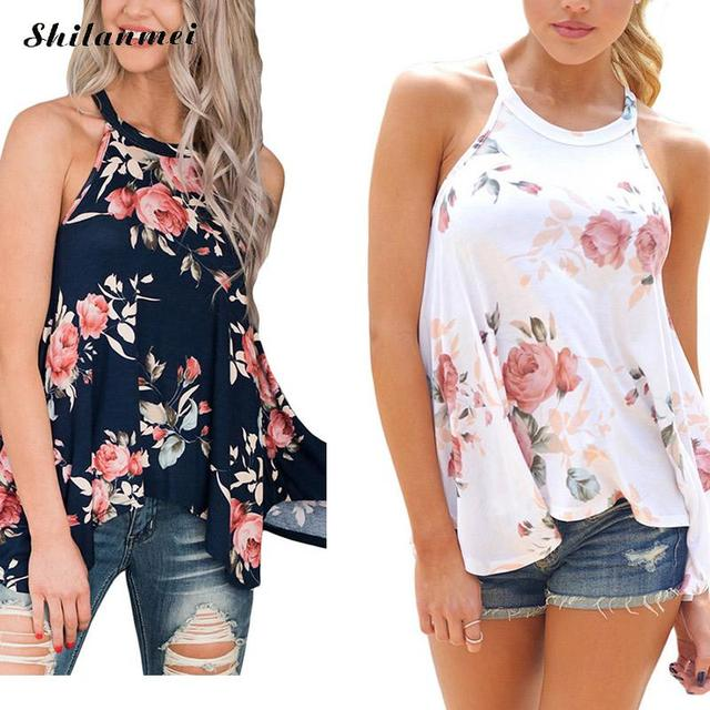 629fe031d64c 2018 New Arrival Summer Women Sexy backless shivering Sleeveless Backless  Shirt printed Tank Top Blouse Vest Tops T shirt