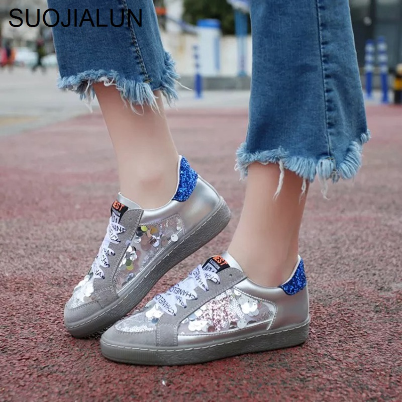 Women Flats Shoes Round Toe Lace Up Sneakers Breathable Canvas Bling Star Female  Flat Casual Shoes Letters Ribbon Platform Shoes-in Women s Flats from Shoes  ... c0059f0ab103