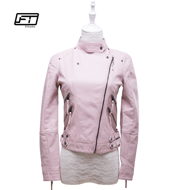 Fitaylor Women Pink Faux   Leather   Jackets Soft PU Lady Biker Outwear Bomber Motor   Leather   Coat Jacket
